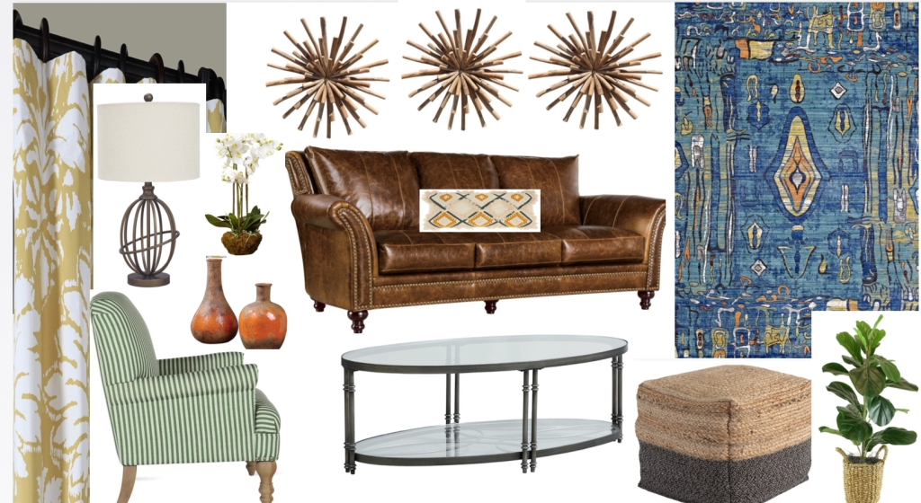 Grouping of design ideas including a brown leather couch, wooden wall accents, a green plant, a glass coffee table, yellow curtains, orange pots, green striped chair, and mosaic style room rug.