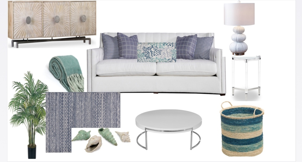 Photo of a group of furniture on a white background including a lamp, a coffee table, a basket, decorative accents, and a couch.