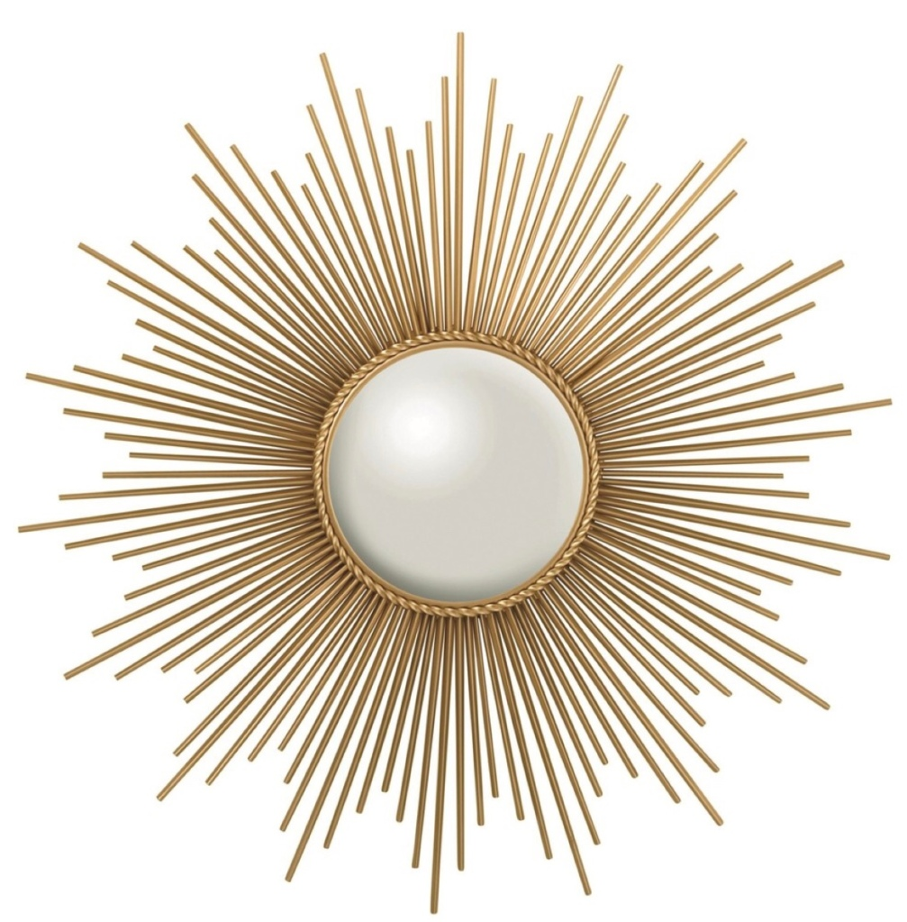 A gold and white large wall sconce shaped like a sun on a white background.