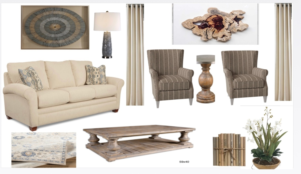 Group of furniture and accessory ideas for a home in beige and brown colors including a couch, two chairs, a lamp, rugs, plants, wall art, and a coffee table.
