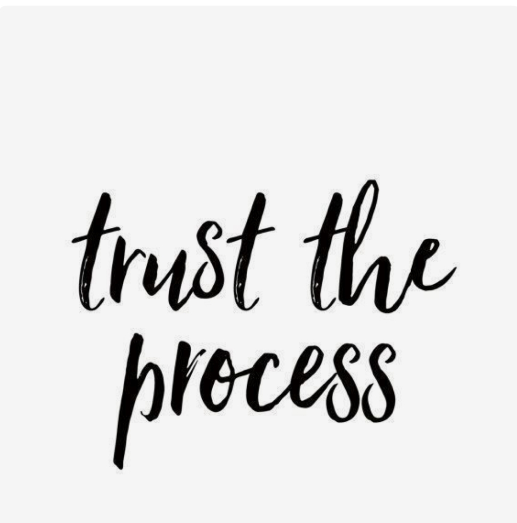 """Block graphic with cursive handwritten text saying """"trust the process."""""""